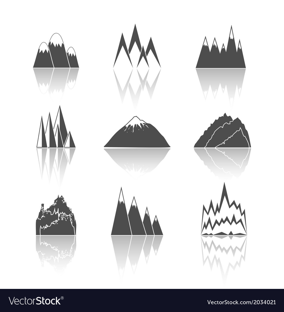 Mountains pictograms icons set vector | Price: 1 Credit (USD $1)
