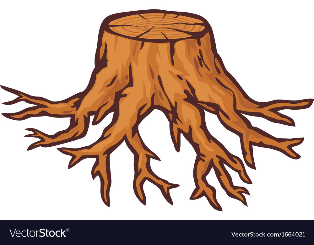 Old tree stump with roots vector   Price: 1 Credit (USD $1)