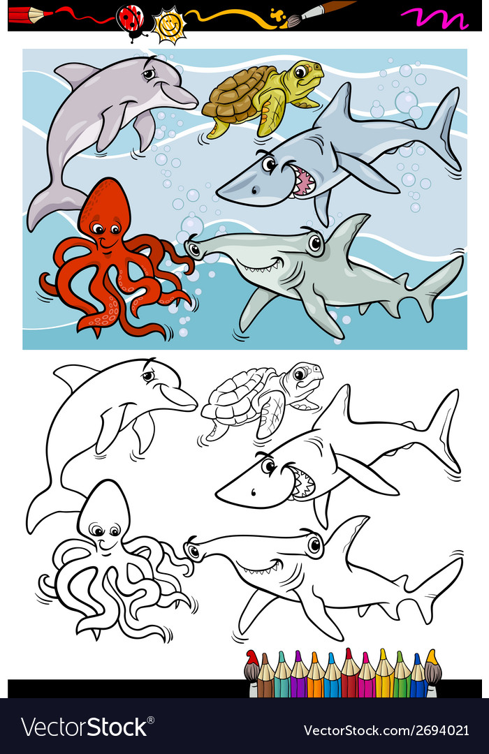 Sea life animals cartoon coloring book vector | Price: 1 Credit (USD $1)