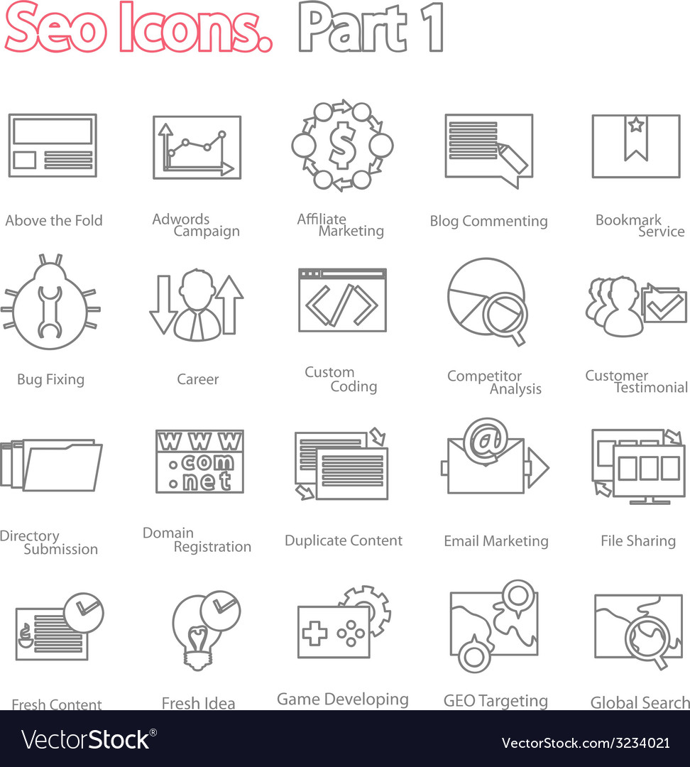Seo icons set part 1 line design modern vector | Price: 1 Credit (USD $1)