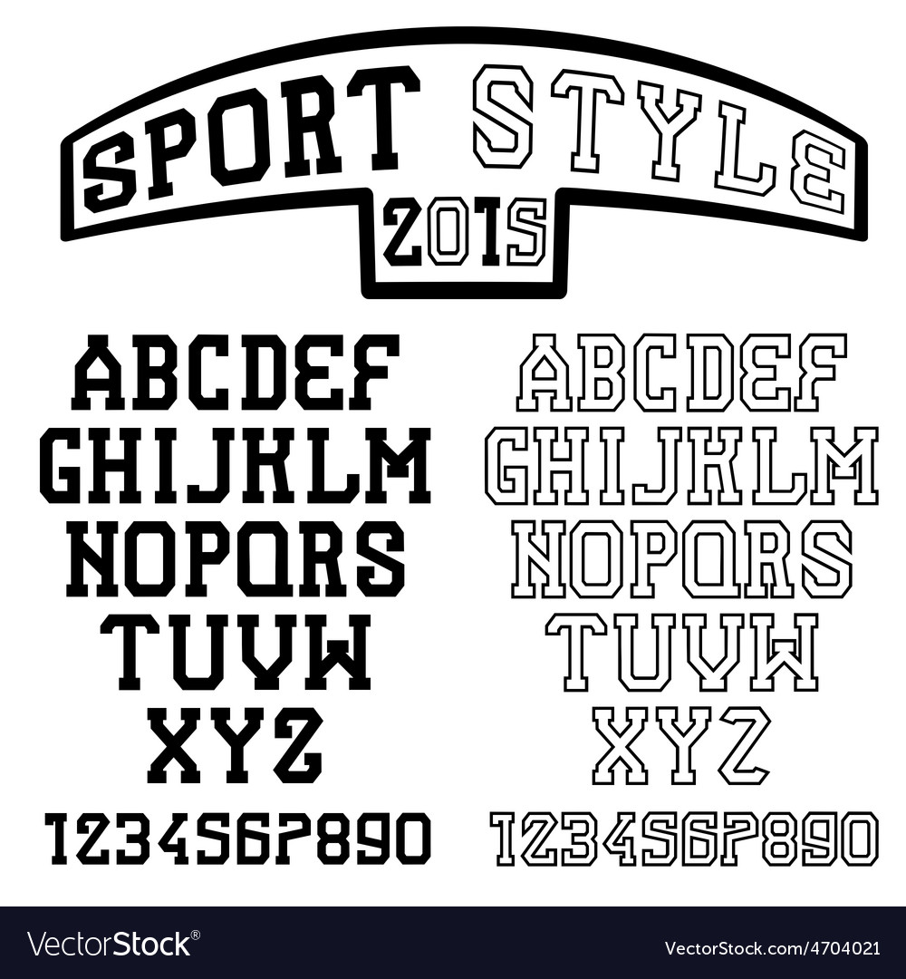 Serif font in the retro style of sport vector | Price: 1 Credit (USD $1)