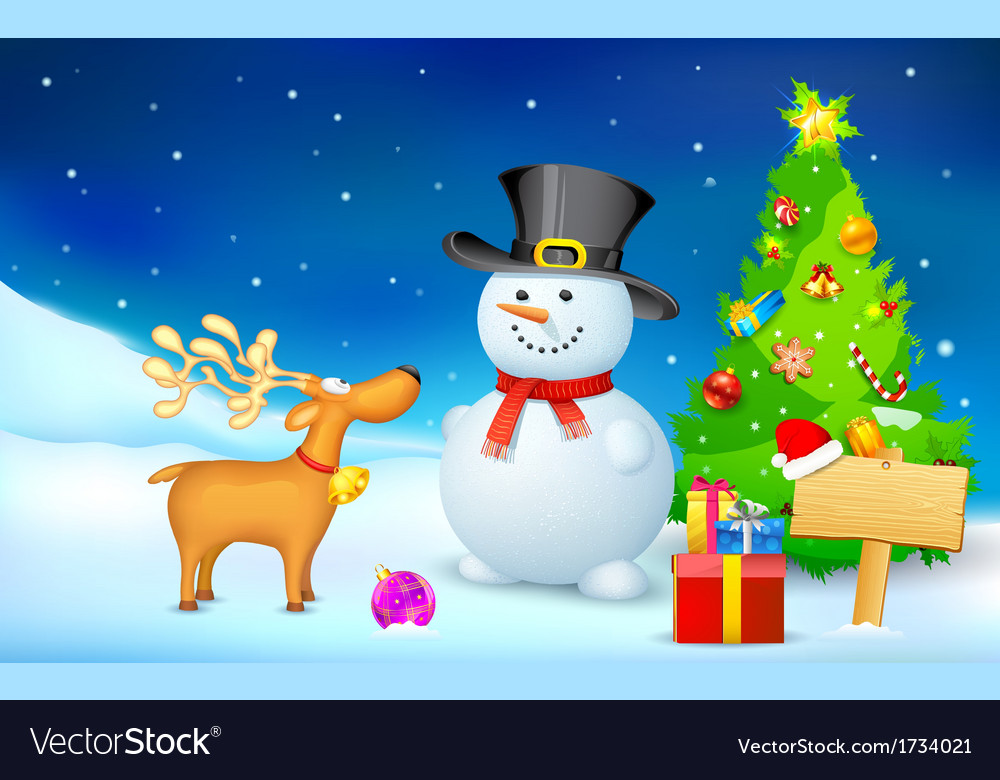 Snowman and reindeer in christmas night vector | Price: 1 Credit (USD $1)