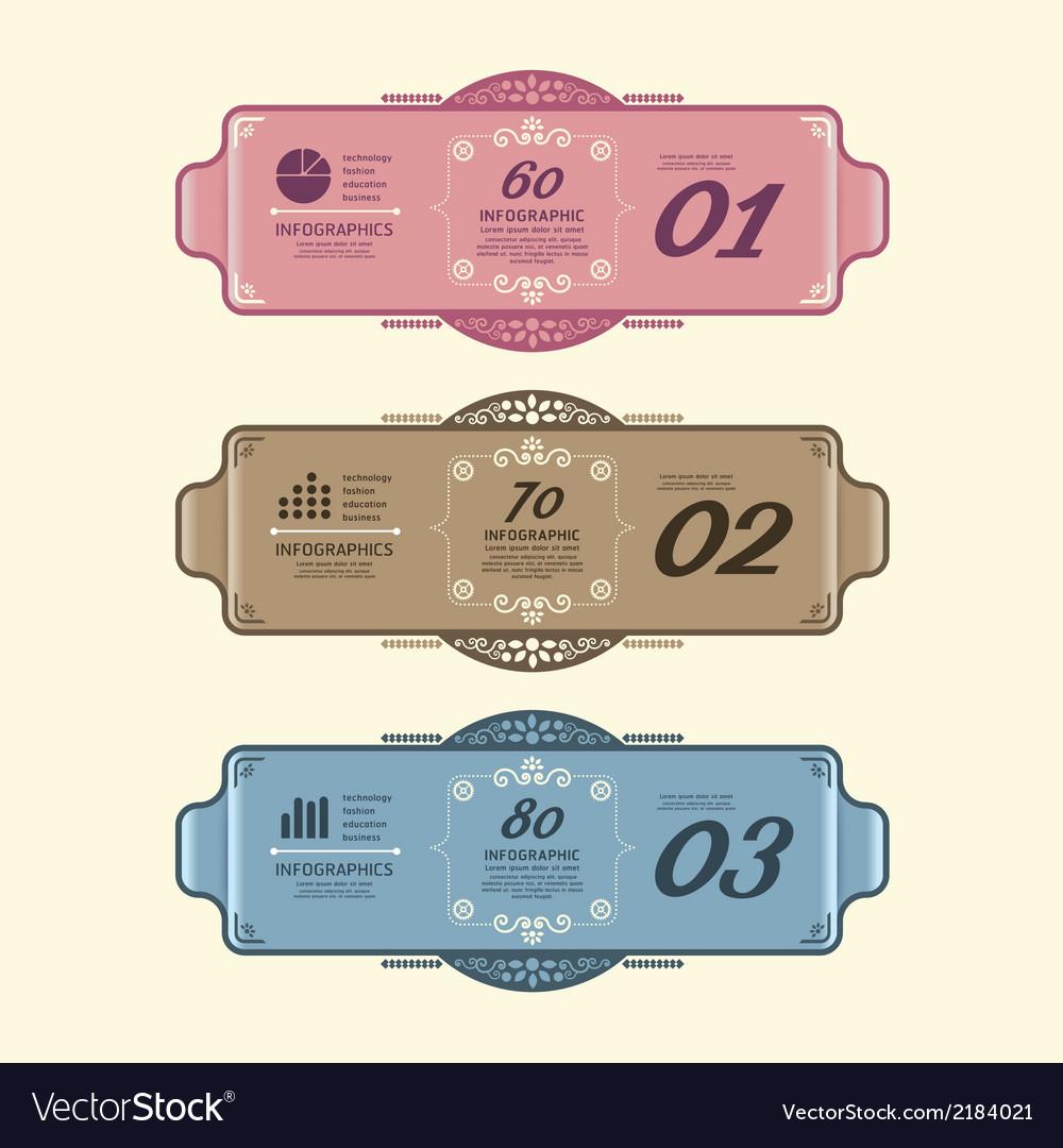 Vintage design labels infographic template vector | Price: 1 Credit (USD $1)