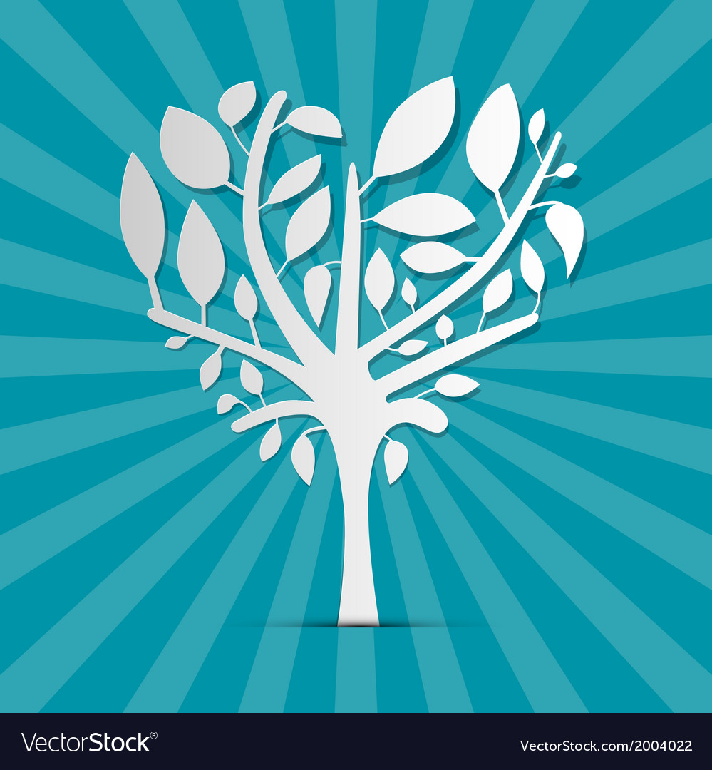 Abstract heart shaped tree on blue retro vector | Price: 1 Credit (USD $1)