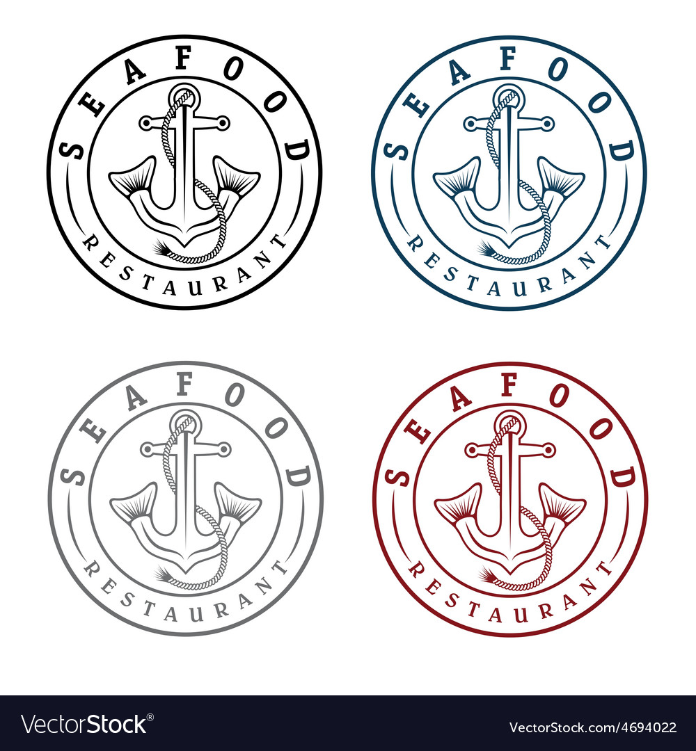 Anchor with fish tails seafood restaurant labels vector | Price: 1 Credit (USD $1)