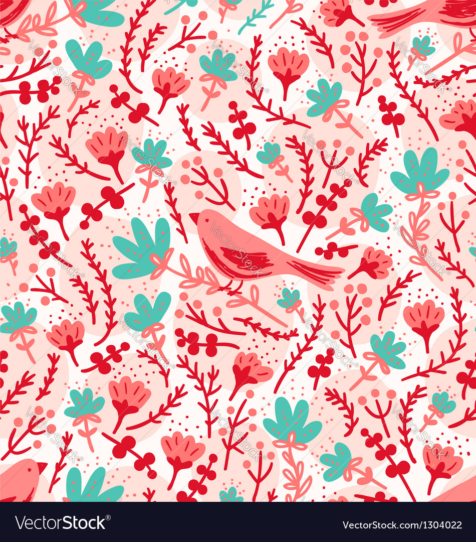 Birds and flowers pattern vector | Price: 1 Credit (USD $1)