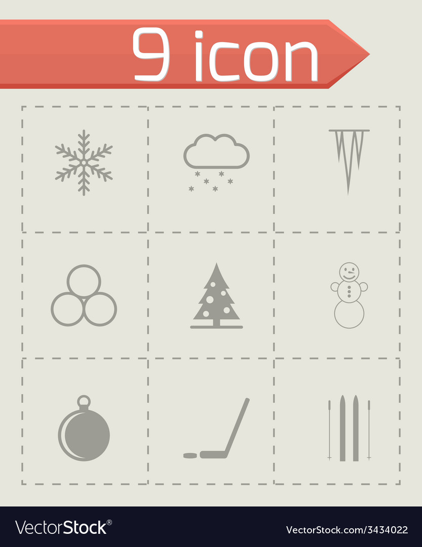 Black winter icon set vector | Price: 1 Credit (USD $1)