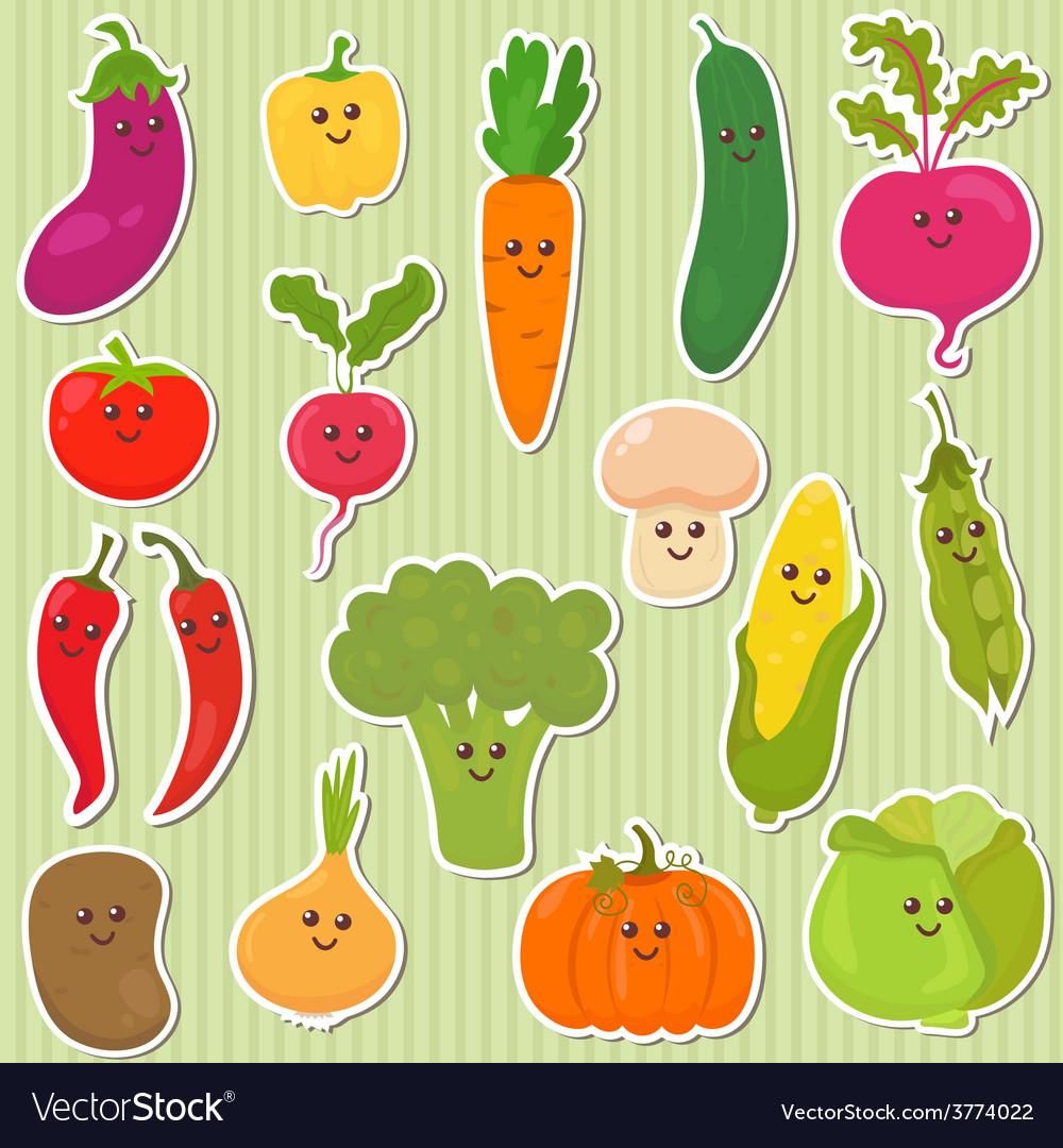 Cute vegetables healthy food vector | Price: 1 Credit (USD $1)