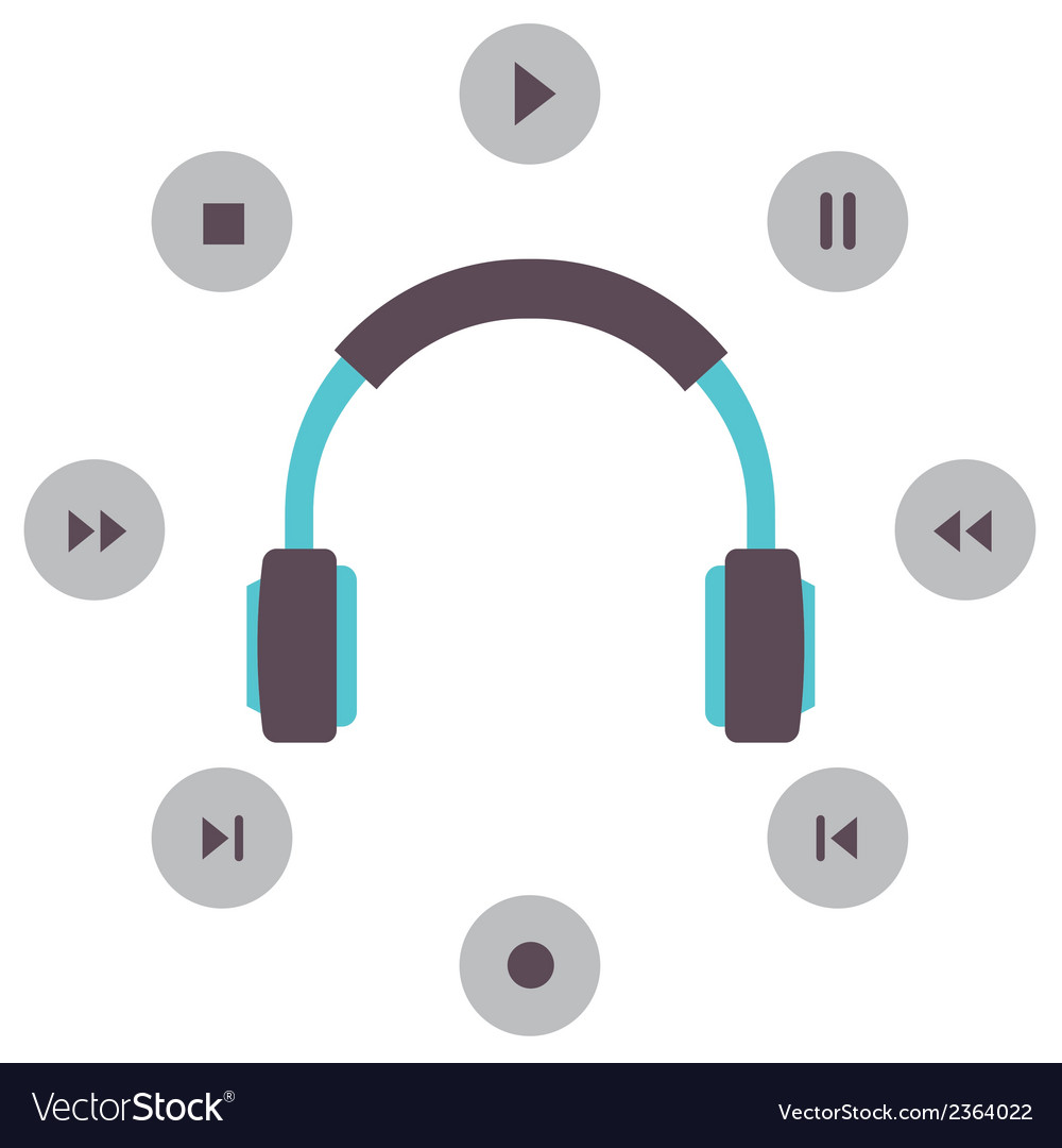 Headphone with radio buttons vector | Price: 1 Credit (USD $1)
