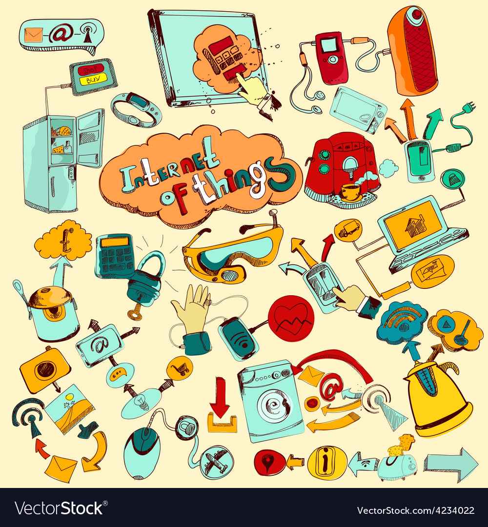 Internet of things doodles colored vector | Price: 1 Credit (USD $1)
