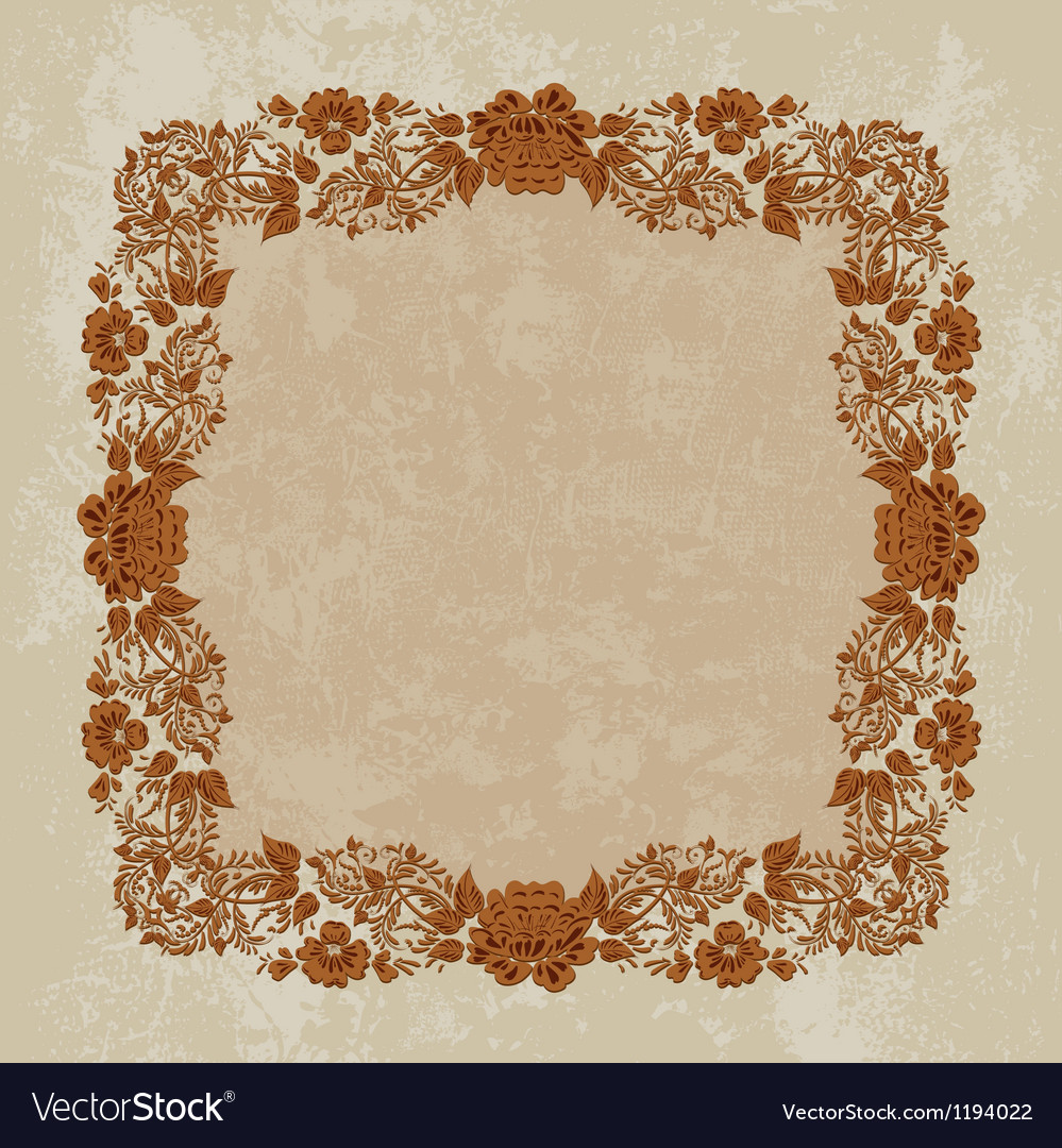 Khokhloma floral pattern frame vector | Price: 1 Credit (USD $1)
