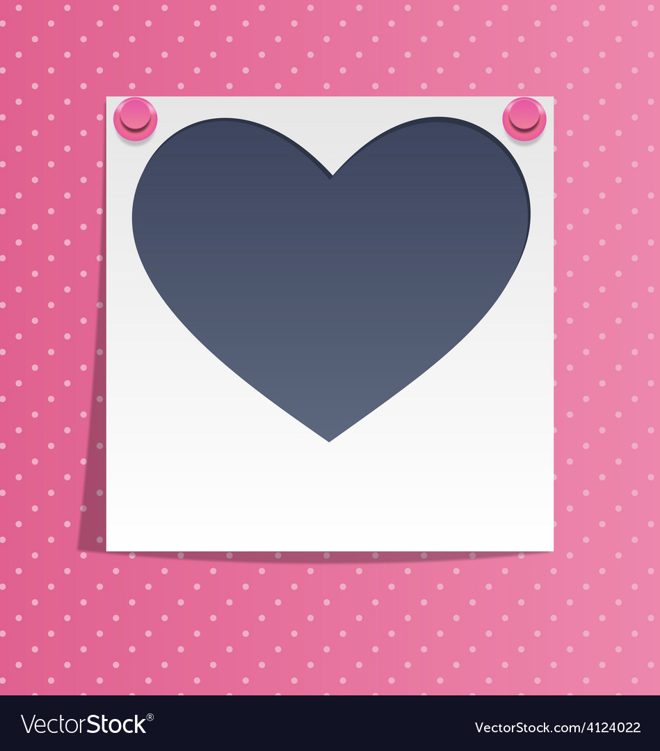 Love photo frame on wall with pink pins on pink vector | Price: 1 Credit (USD $1)
