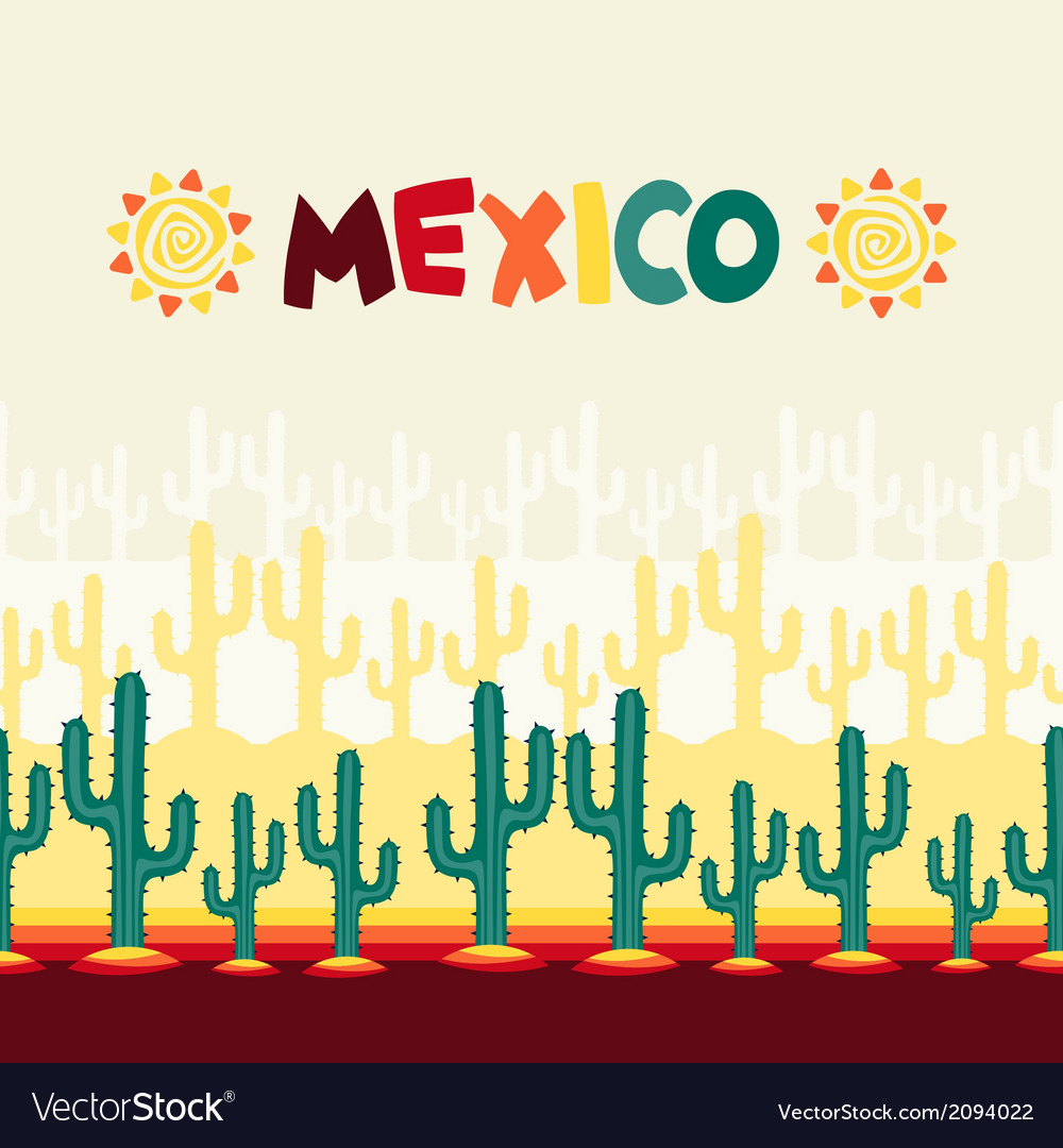 Mexican seamless pattern with cactus in native vector | Price: 1 Credit (USD $1)