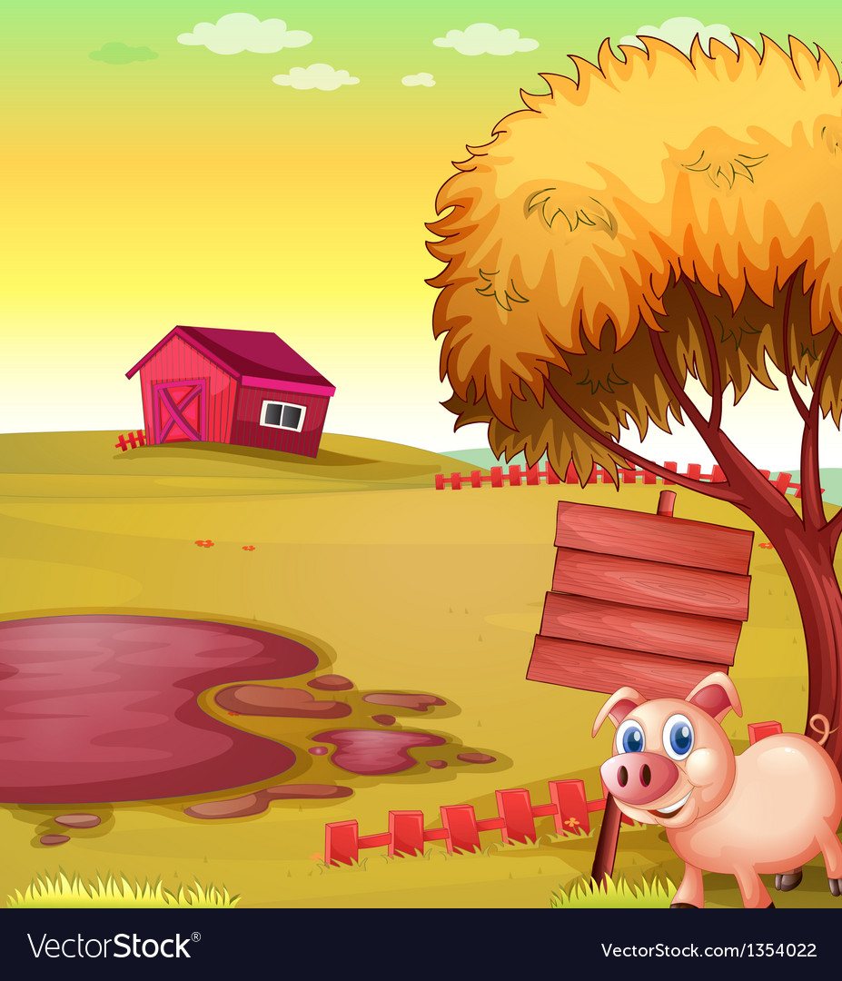 Pig farm signboard vector | Price: 1 Credit (USD $1)
