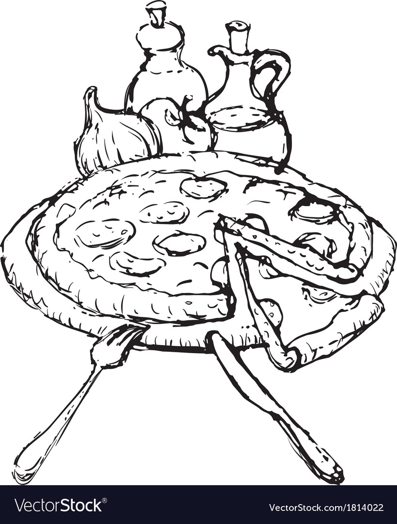 Pizza sketch vector | Price: 1 Credit (USD $1)