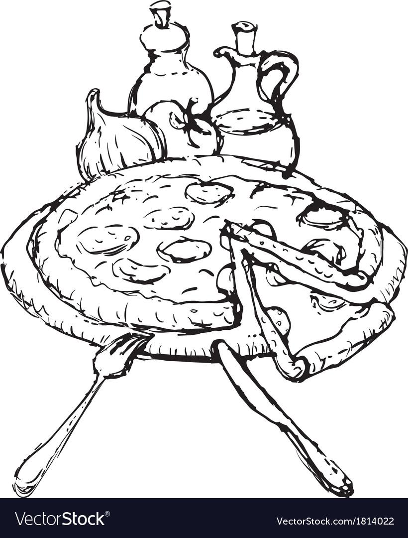 Pizza sketch vector | Price: 1 Credit (USD $1)