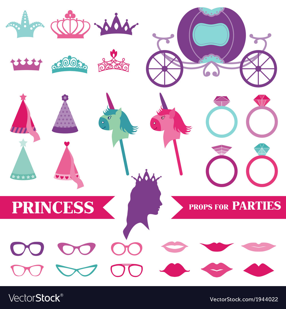 Princess party set  photobooth props vector