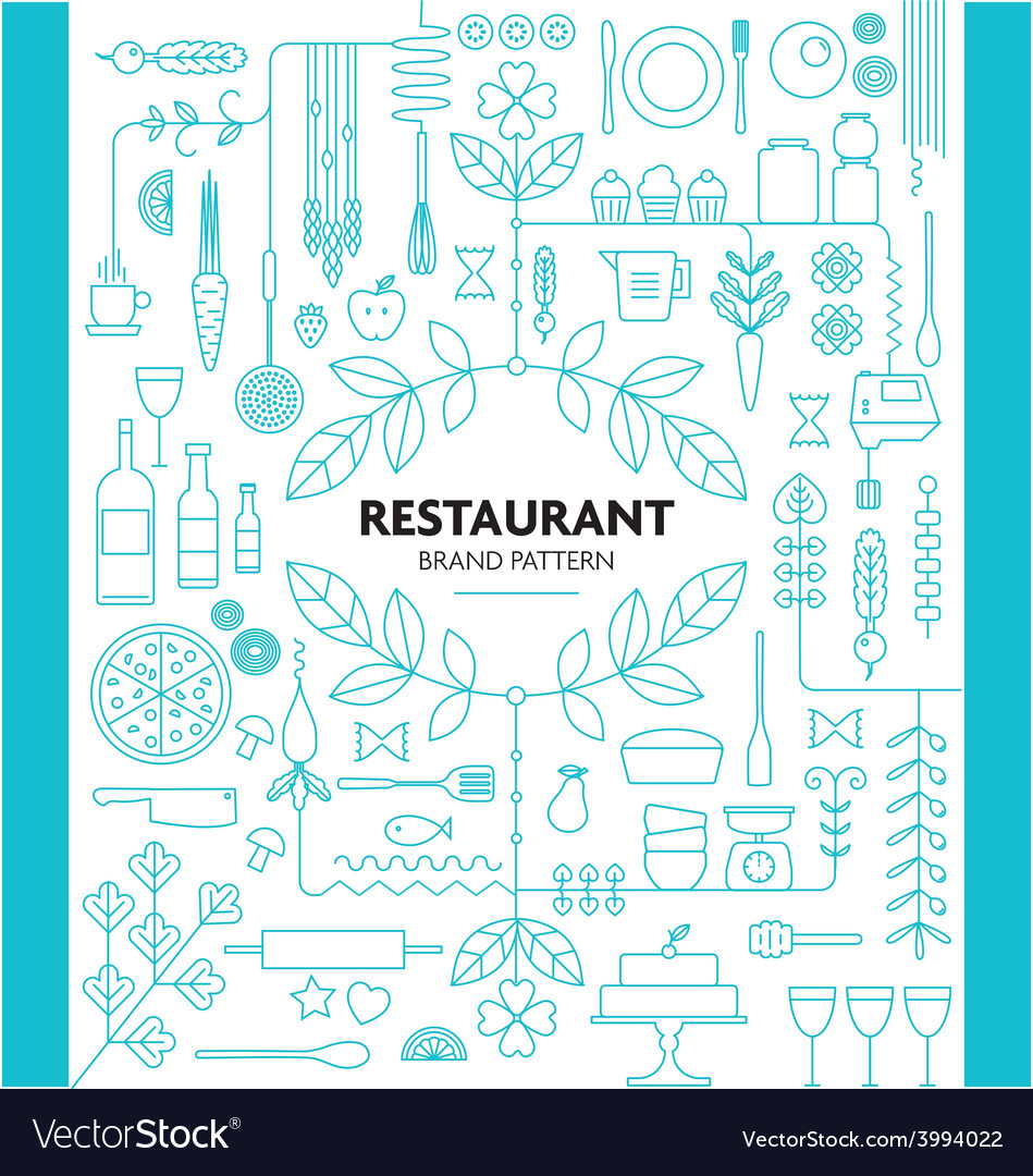 Restaurant branding line pattern design template vector