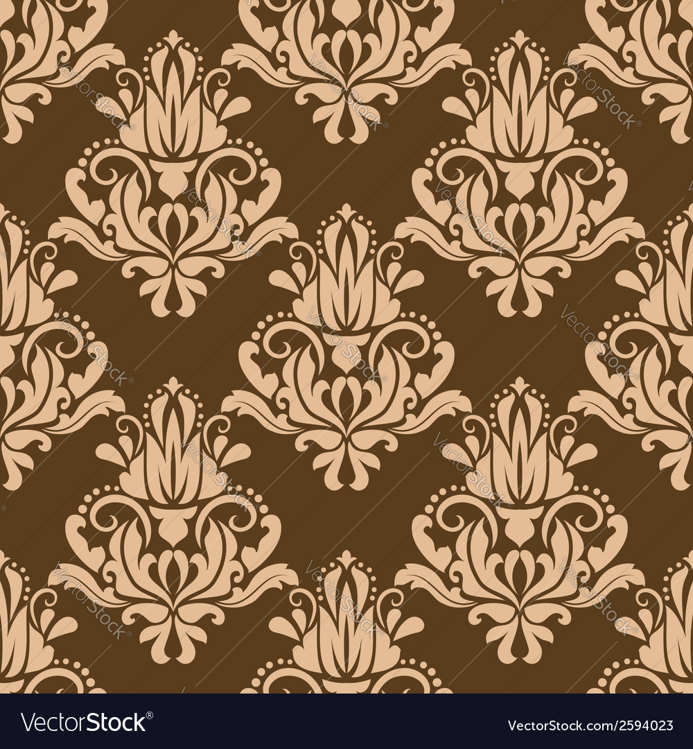 Brown and beige floral seamless pattern vector | Price: 1 Credit (USD $1)