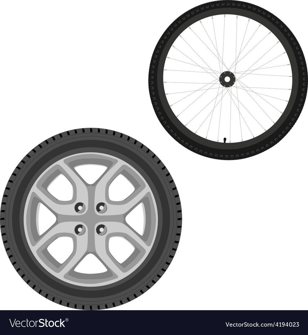 Car and bicycle wheel vector | Price: 1 Credit (USD $1)