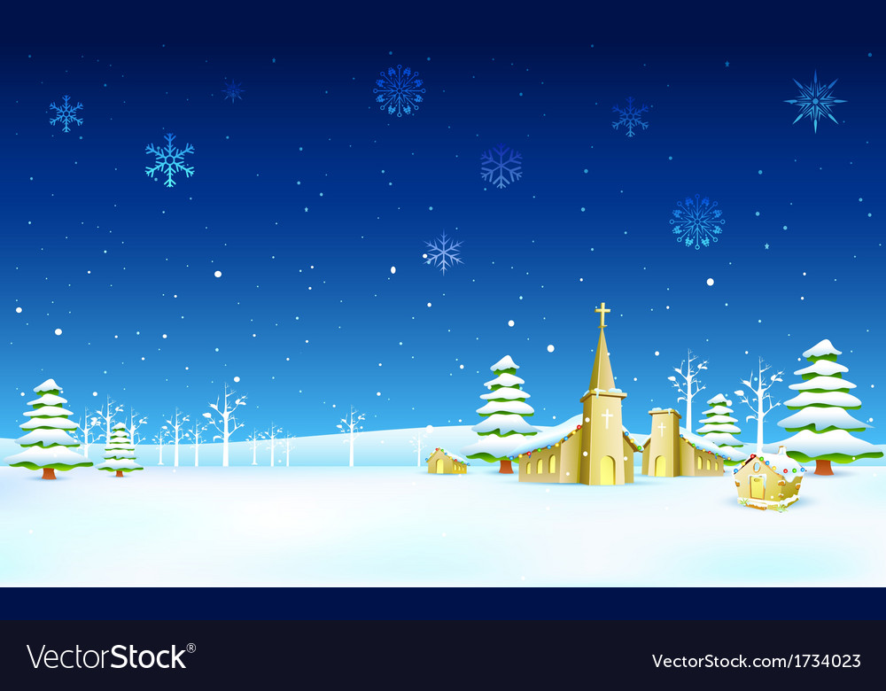 Church in christmas night vector | Price: 1 Credit (USD $1)