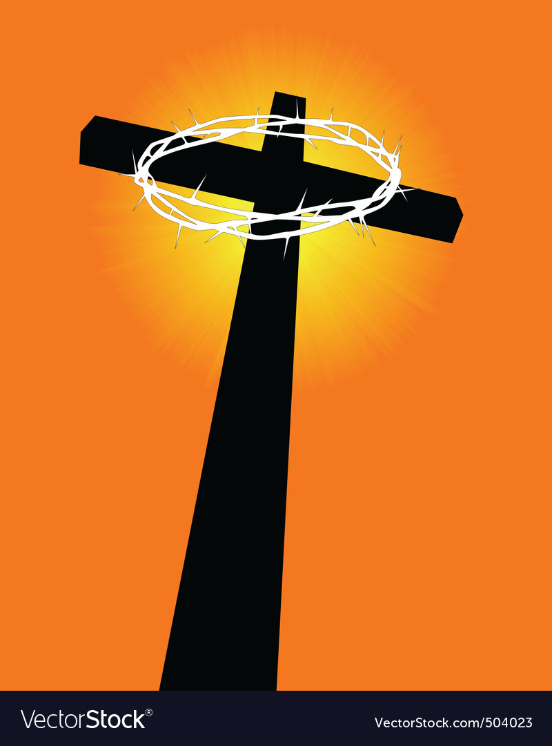 Cross and crown of thorns vector | Price: 1 Credit (USD $1)