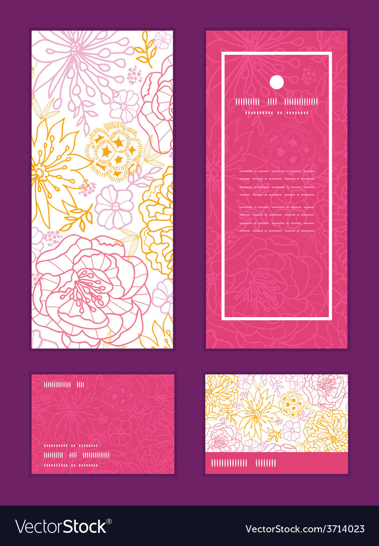 Flowers outlined vertical frame pattern vector | Price: 1 Credit (USD $1)