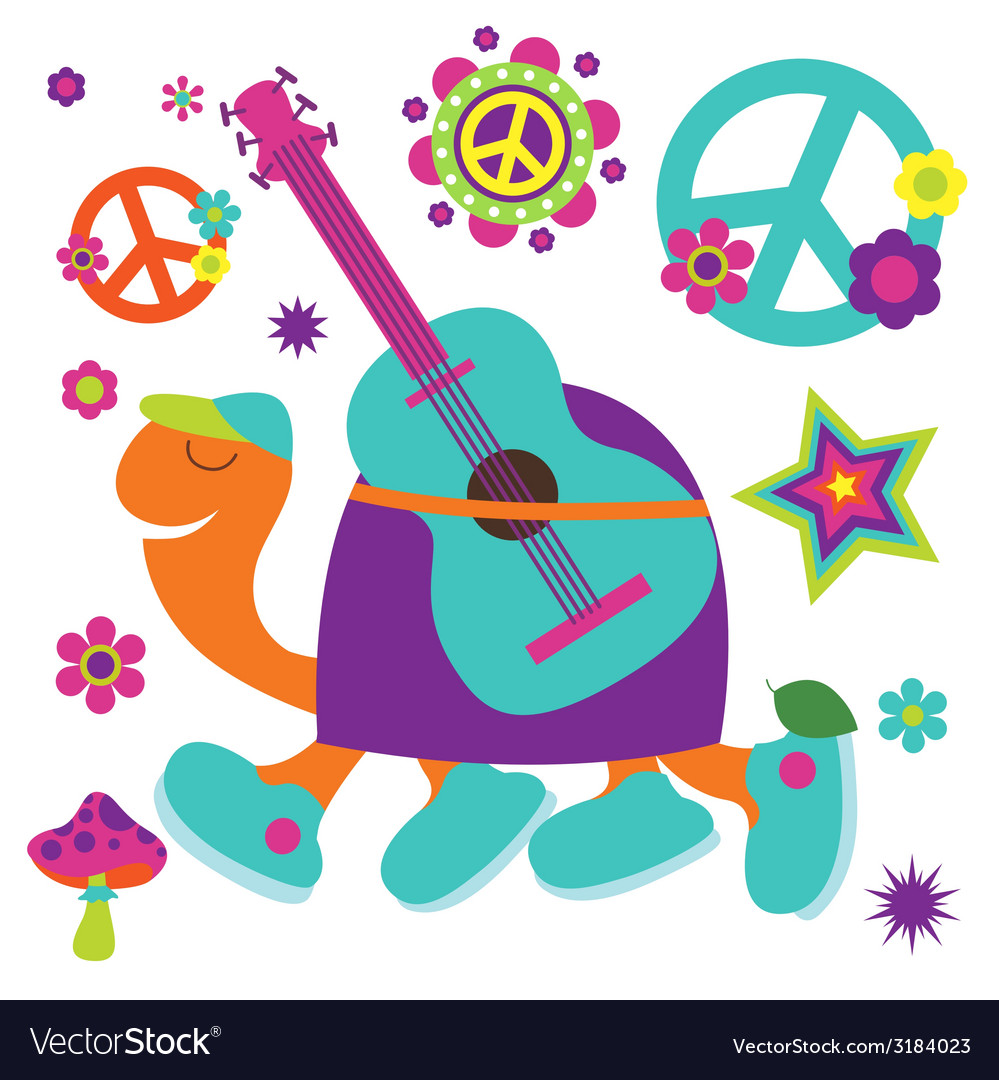 Happy birthday card with turtle guitarist and many vector | Price: 1 Credit (USD $1)