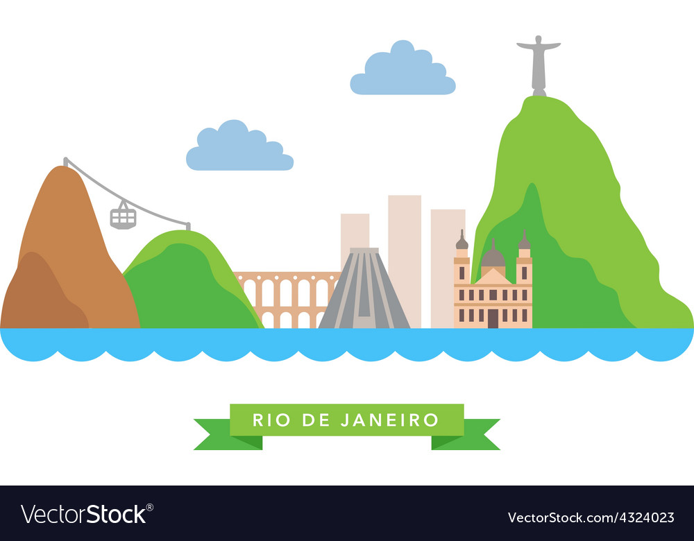 Rio de janeiro flat background vector | Price: 1 Credit (USD $1)