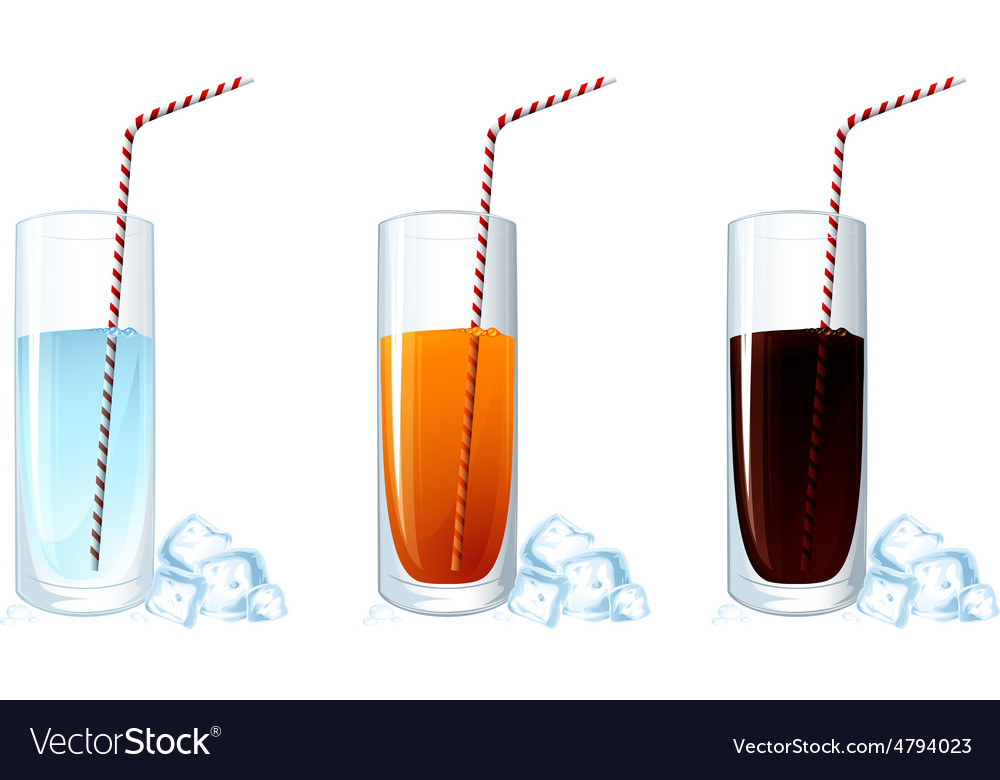 Set of cold drink glasses on white background vector | Price: 1 Credit (USD $1)