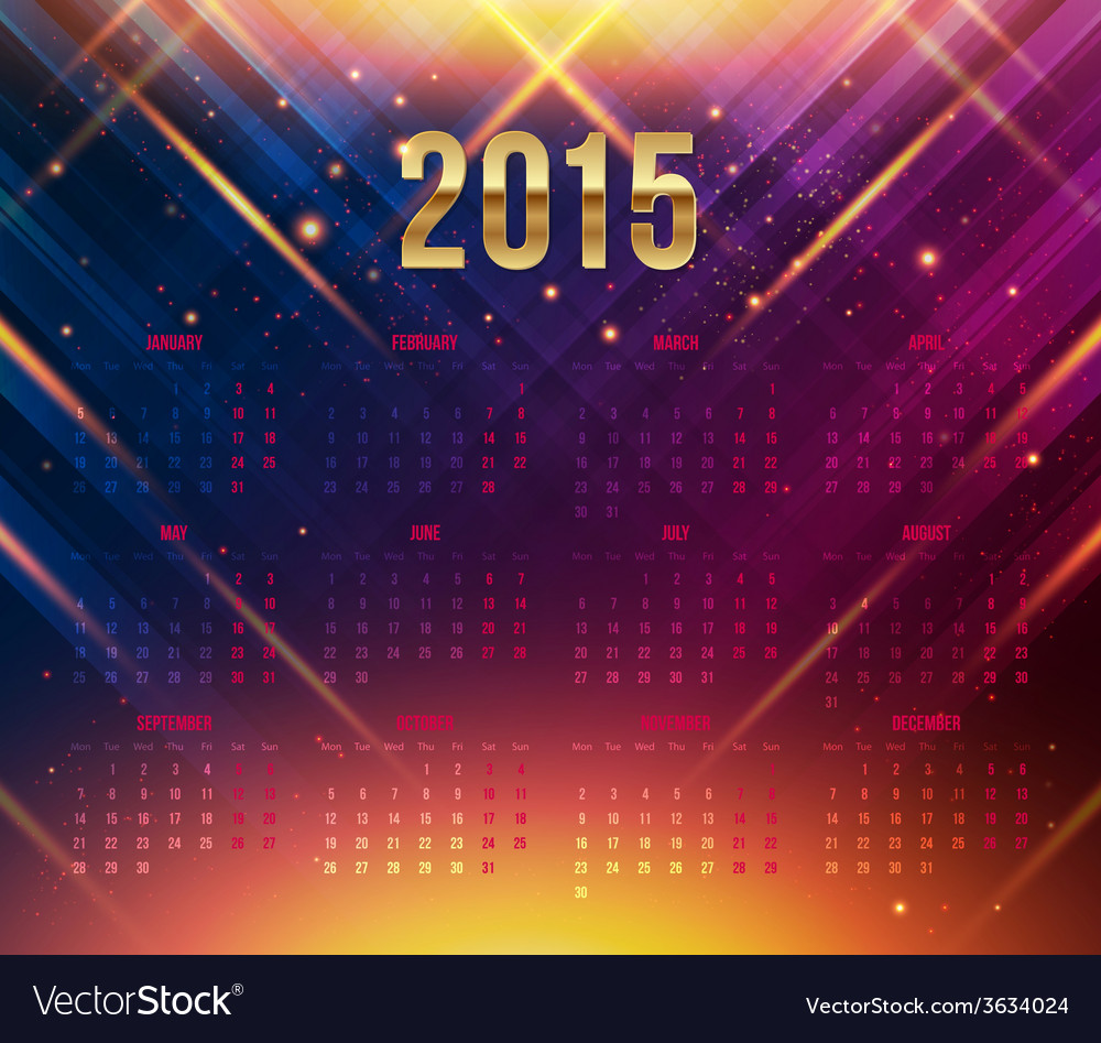 2015 year calendar bright dynamic background vector | Price: 1 Credit (USD $1)