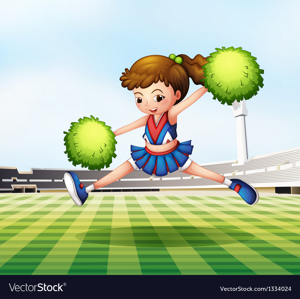 A cheerdancer with green pompoms at the soccer vector | Price: 1 Credit (USD $1)