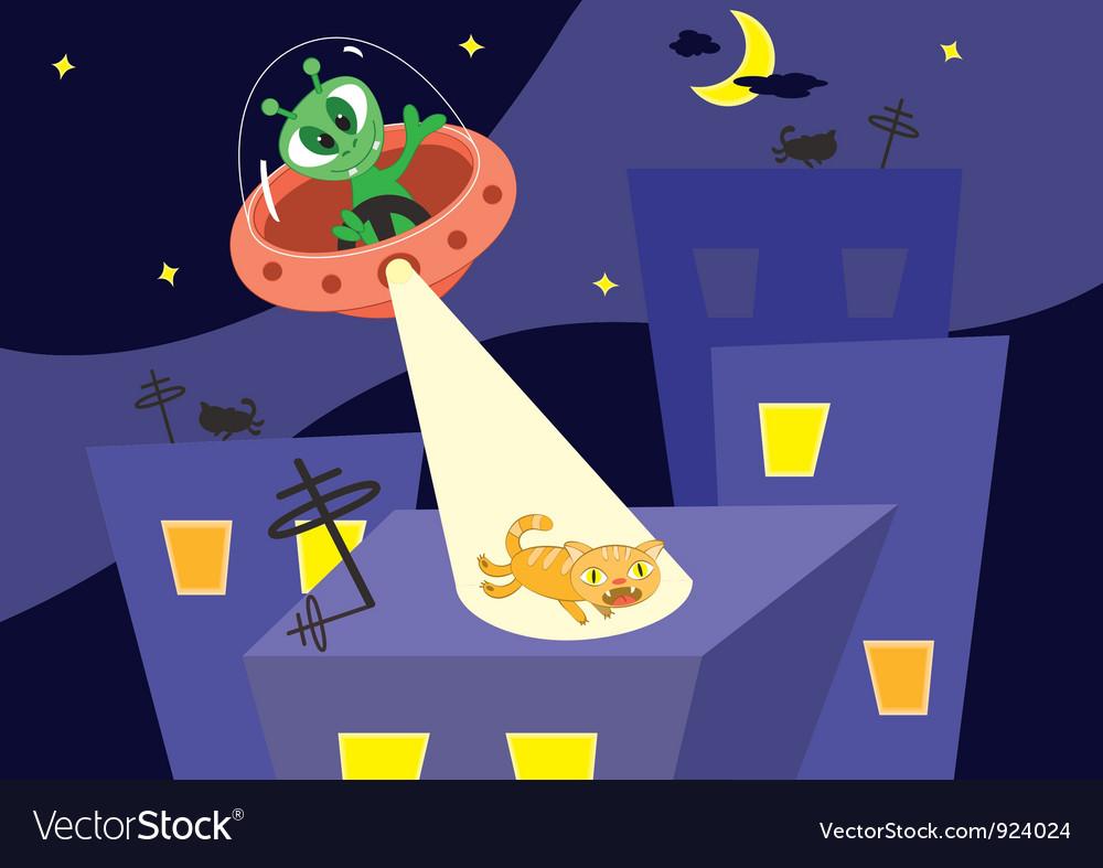 Alien and cat vector | Price: 3 Credit (USD $3)