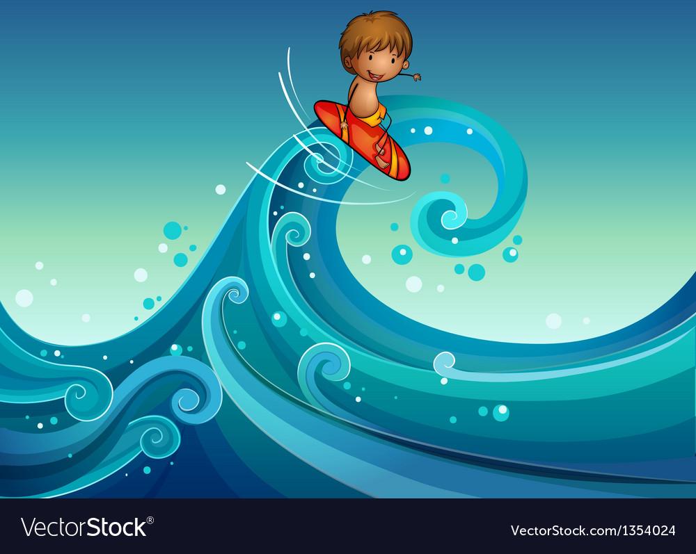 Cartoon boy surfing vector | Price: 1 Credit (USD $1)