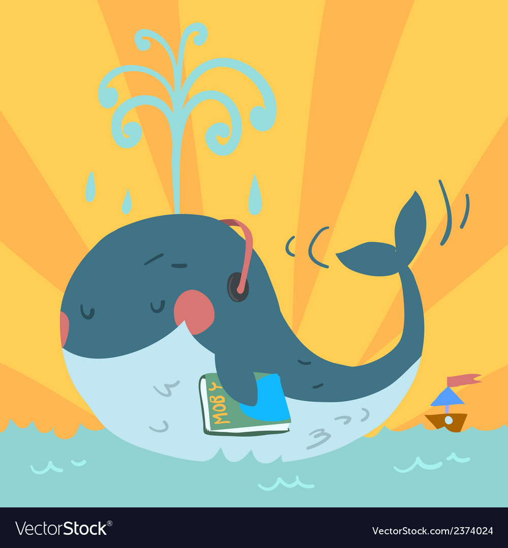 Cartoon cute blue whale vector | Price: 1 Credit (USD $1)