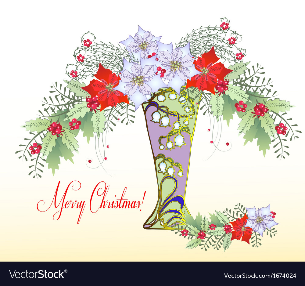 Christmas card with vase and bouquet of poinsettia vector | Price: 1 Credit (USD $1)