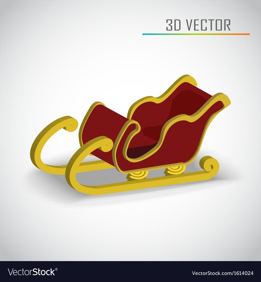 Christmas sleigh 3d vector