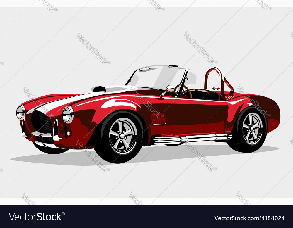 Classic sport red car ac shelby cobra roadster vector | Price: 1 Credit (USD $1)