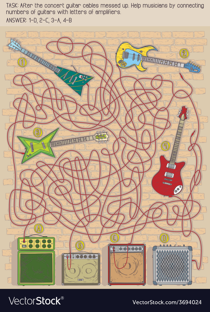 Guitar maze game vector | Price: 1 Credit (USD $1)