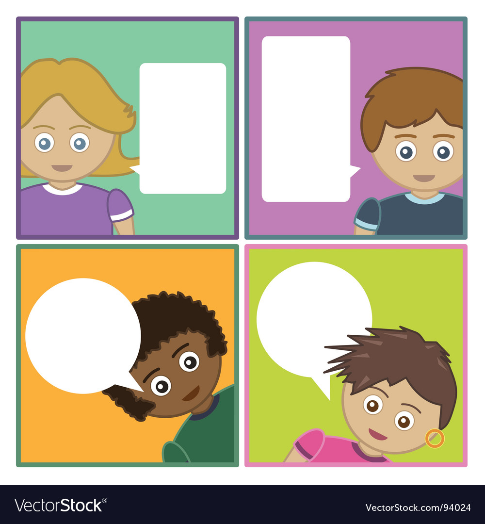 Kids with speech bubbles vector | Price: 1 Credit (USD $1)