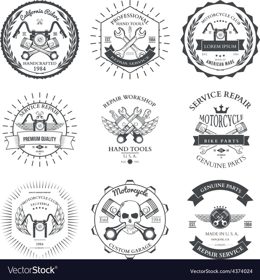 Race bikers garage repair service emblems and vector | Price: 1 Credit (USD $1)