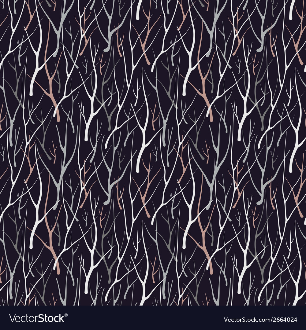 Seamless pattern with silhouette branches vector | Price: 1 Credit (USD $1)