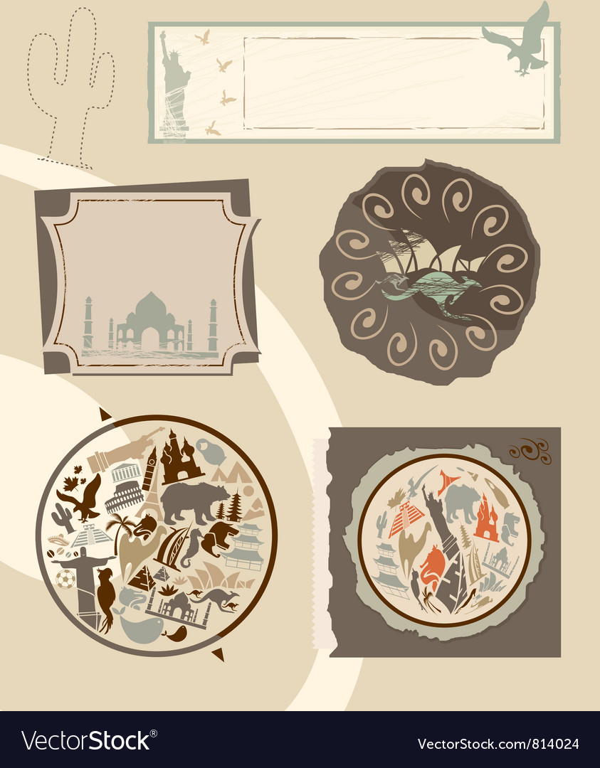 Set of vintage labels with landmarks vector | Price: 1 Credit (USD $1)