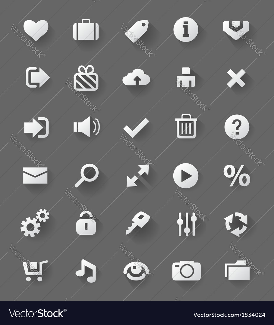 Web design white buttons set vector | Price: 1 Credit (USD $1)
