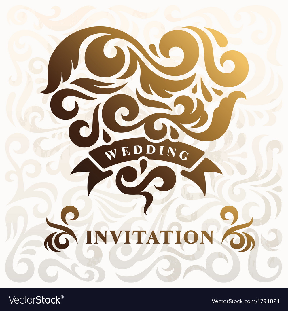 Wedding invitation with heart vector   Price: 1 Credit (USD $1)