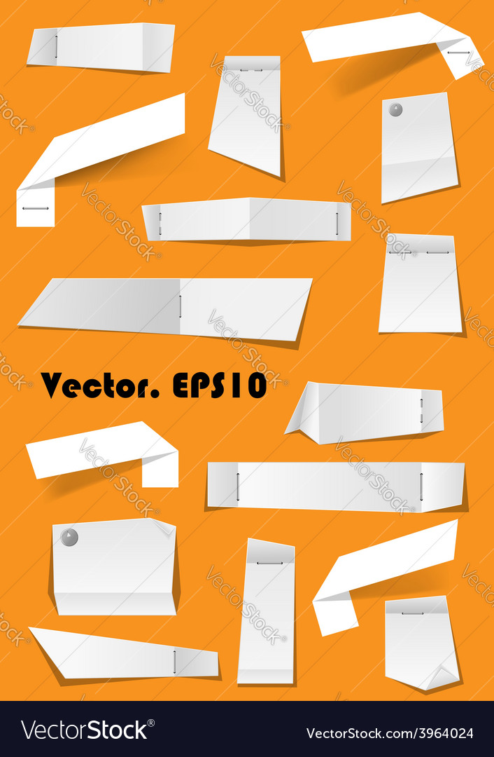 White paper notes and scraps attached with pins vector | Price: 1 Credit (USD $1)