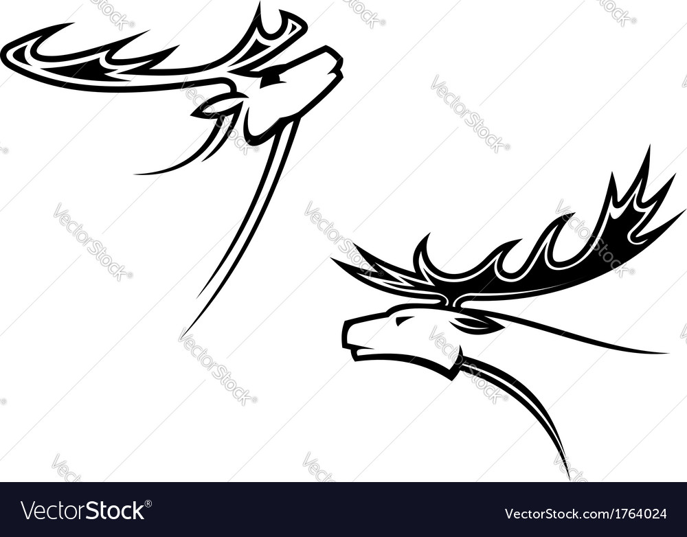 Wild deer mascots vector | Price: 1 Credit (USD $1)