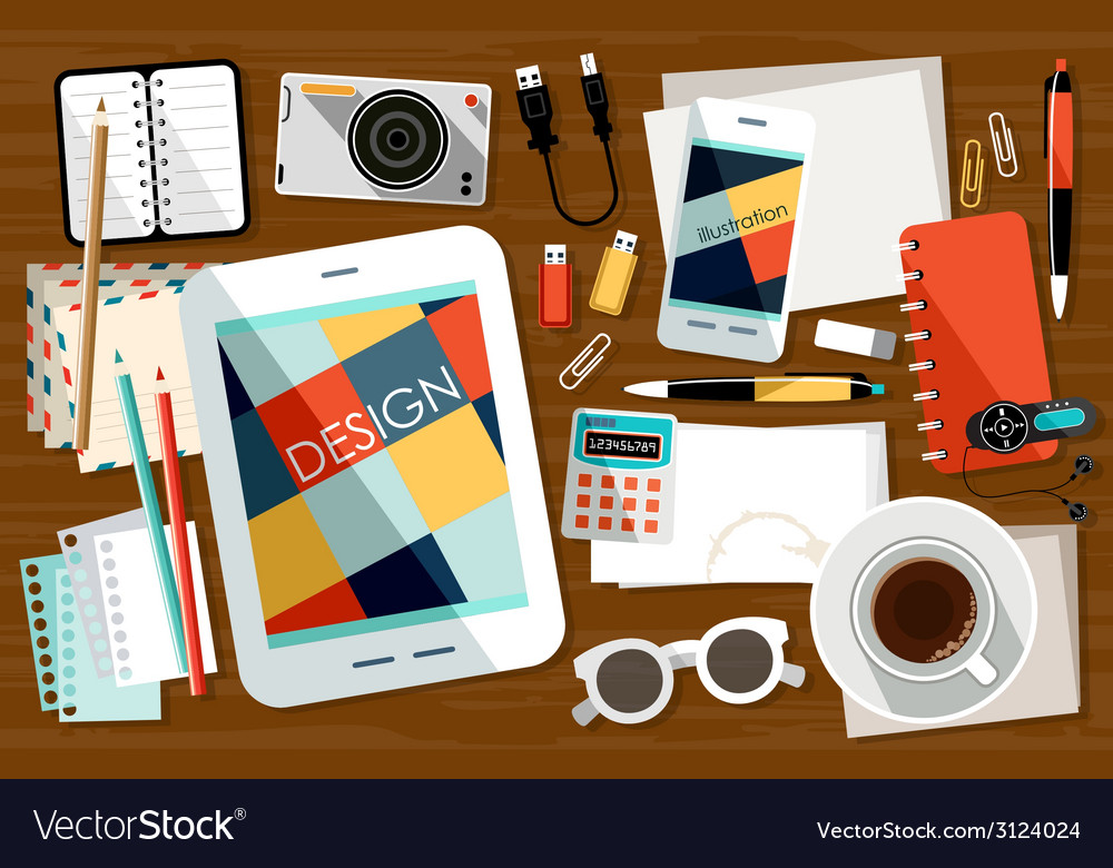 Workplace with office things vector | Price: 1 Credit (USD $1)