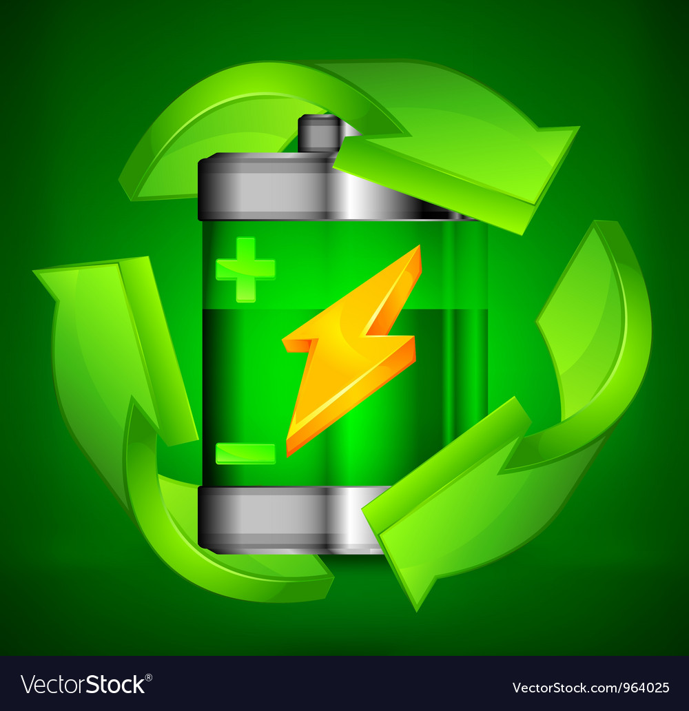Battery recycling three arrows green background 10 vector | Price: 3 Credit (USD $3)