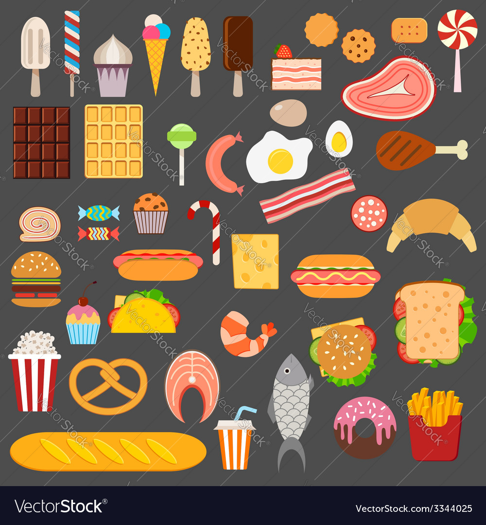 Icons of sweets fast food meat and fish vector | Price: 1 Credit (USD $1)